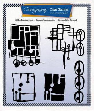 Clarity Stamps Leonie's Altered Squares Unmounted Clear Stamp Set Designed by Leonie Pujol