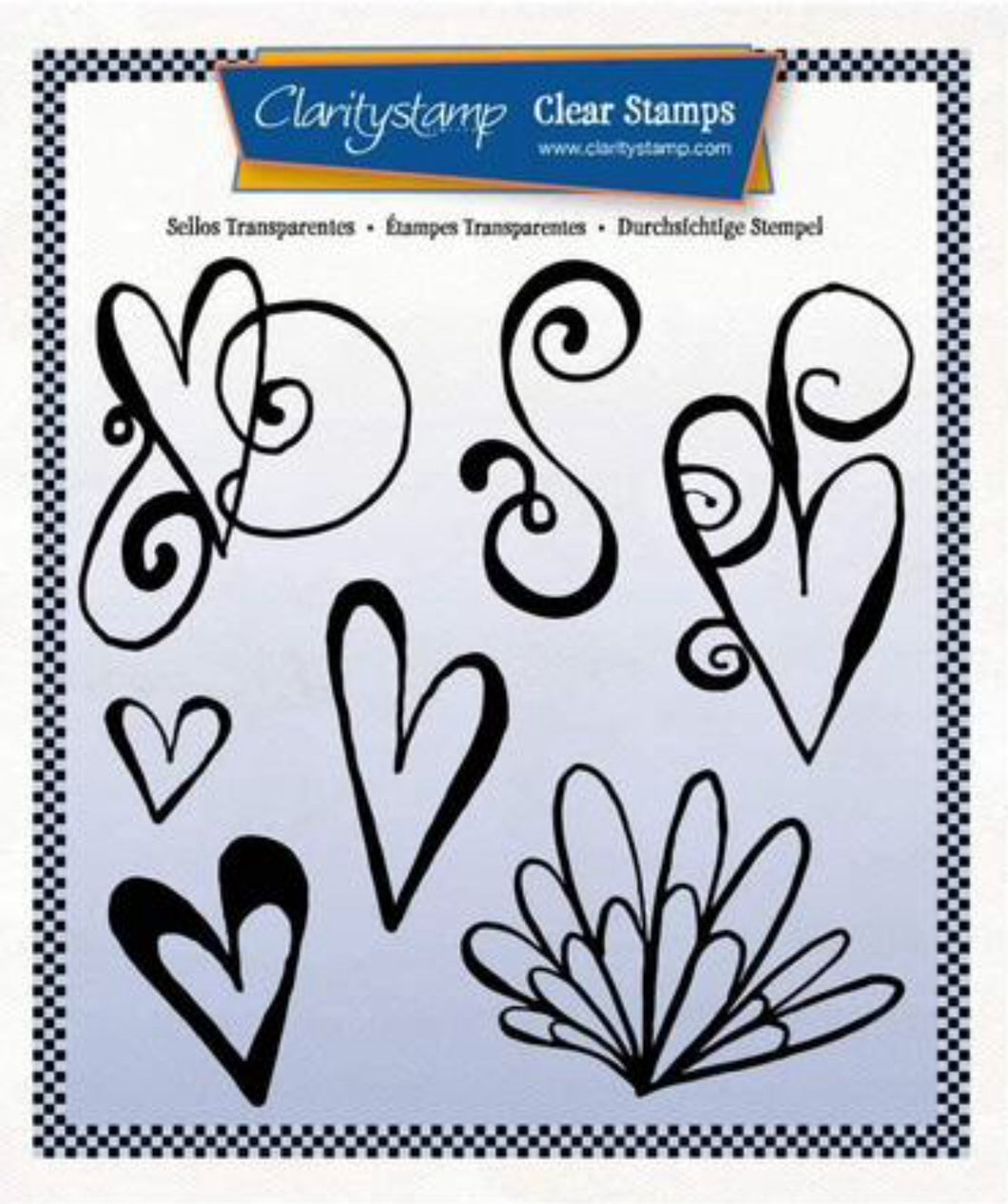 Clarity Stamps Leonie's Altered Hearts Unmounted Clear Stamp Set Designed by Leonie Pujol