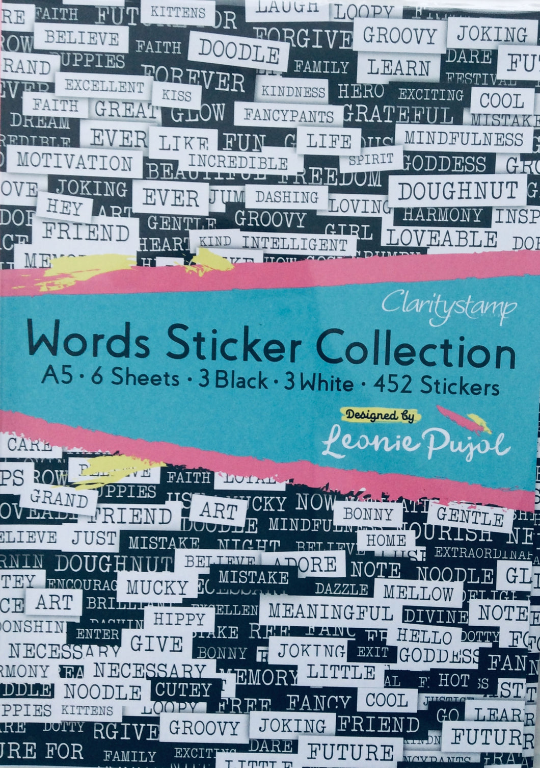 Clarity Words Stickers Collection by Leonie Pujol A5 - pack of 6