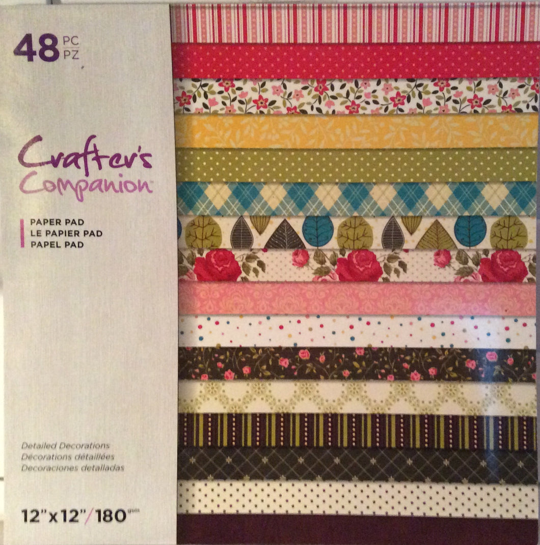 "Crafters Companion Detailed Decorations 12"" x 12"" Paper Pad - 48 Sheets"