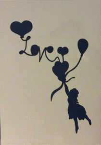 Clarity Art Stencils Child with Love Balloon A5