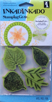 Cling Stamps - Inkadinkado Stamping Gear 4 Piece Rubber Stamp Set - Fossil Leaves