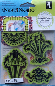 Cling Stamps - Inkadinkado Stamping Gear 4 Piece Rubber Stamp Set - Fun Circus Party Stamps