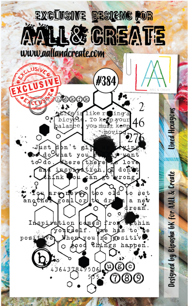 AALL & Create - A6 Clear Stamp Set Designed by Bipasha Bk - Lined Hexagons #384