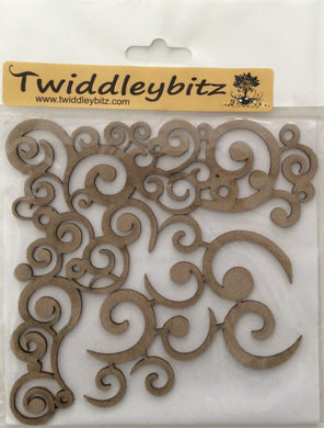 Twiddleybitz Retro Corners Swirls 2 Pieces