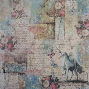 Stamperia Decoupage Rice Paper 50 x 50cm Wonderland Unicorn