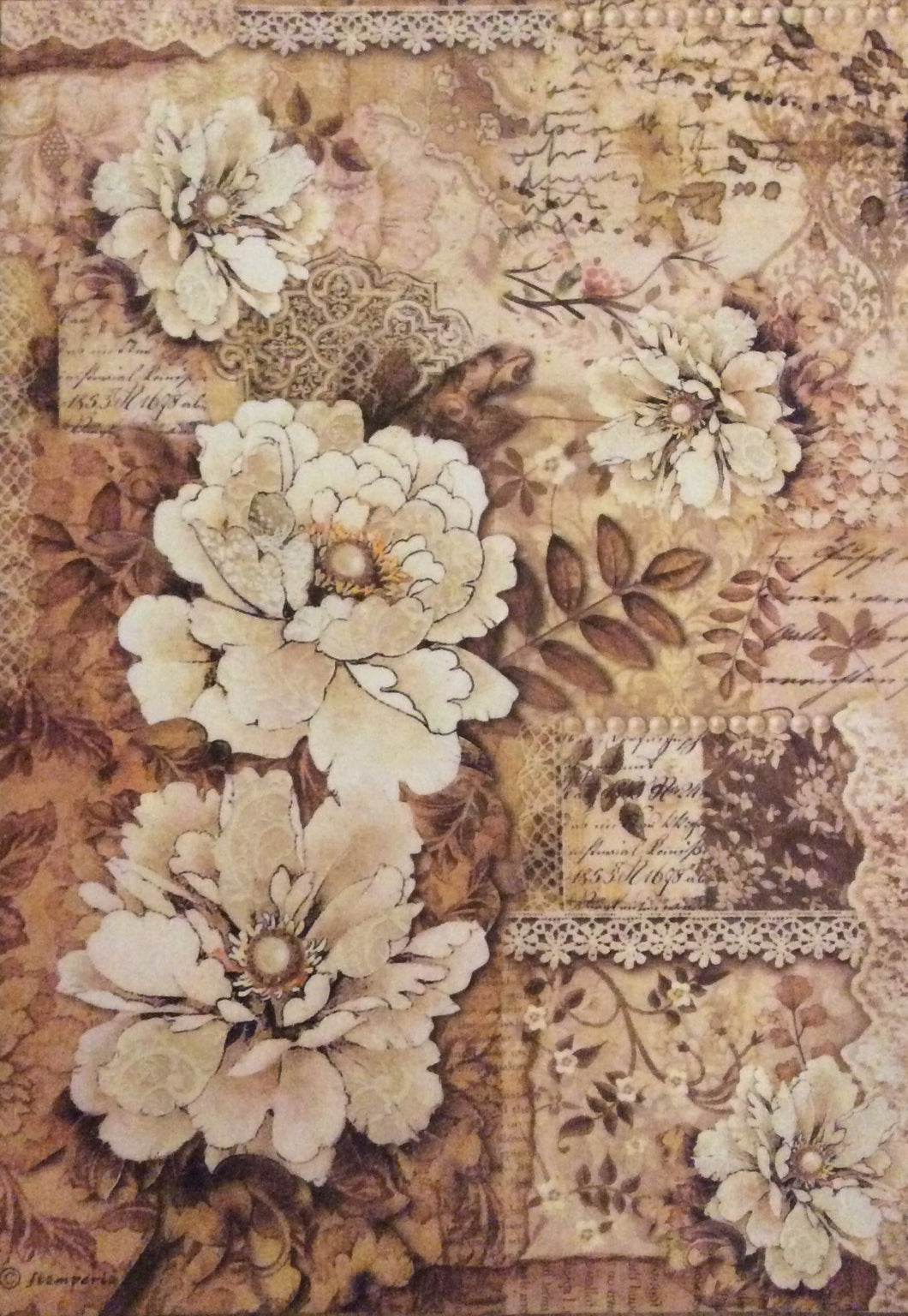 Stamperia - Old Lace Peonies Decoupage Rice Paper A4