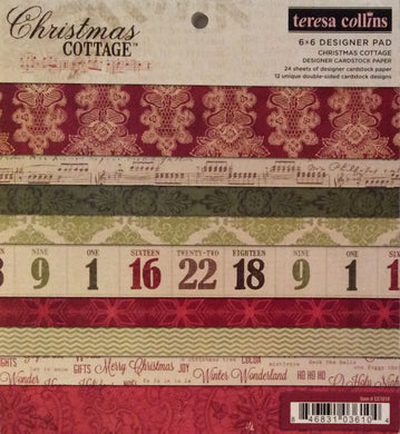 "Teresa Collins Christmas Cottage Collection 6"" x 6"" Paper Pad - 24 Sheets"