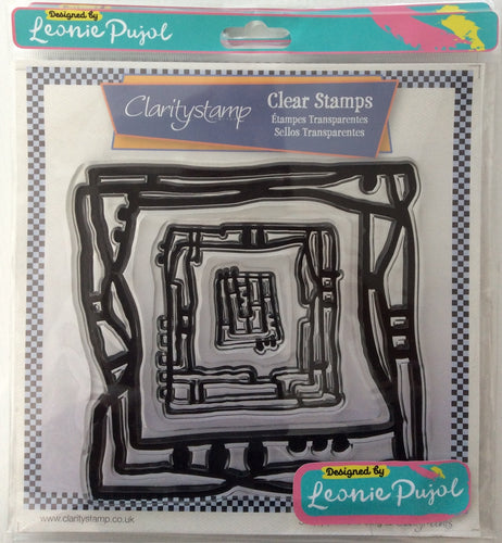 Clarity Stamp Unmounted Clear Stamp Set of 3 Designed by Leonie Pujol-Nested Square Scribbles