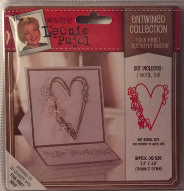 "Leonie Pujol Entwined Collection Folk Heart - Butterfly Border - 3.3"" x 3.8"""