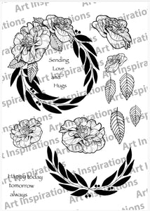 Art Inspirations by Wensdi Made A5 Clear Stamp Sheet - Love Wreath - 12 Stamps