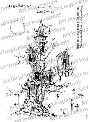 Art Inspirations with Brejanzart A5 Stamp Set - Treehouses, Lamps & Swing - 10 Stamps
