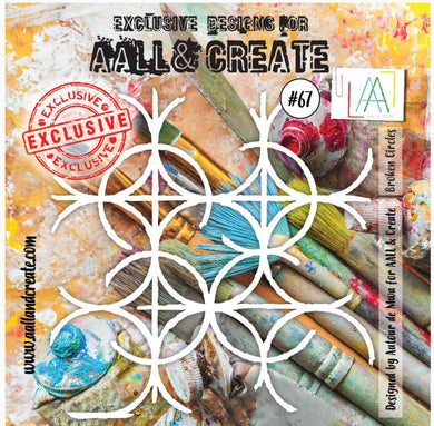 "Exclusive Designs for AALL & Create Stencils designed by Autour de Mwa 6""x 6"" Broken Circles #67"