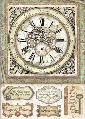 Stamperia - Packed Lady Vagabond Clock with Mechanisms Decoupage Rice Paper A4 DFSA4519