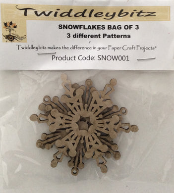 Twiddleybitz Snowflakes Pack of 3