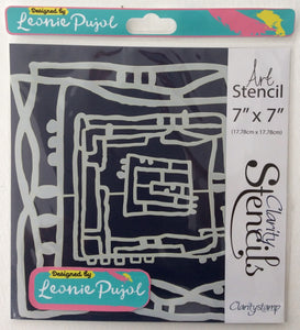 "Clarity Art Stencils by Leonie Pujol - Nested Square Scribbles 7""x 7"""