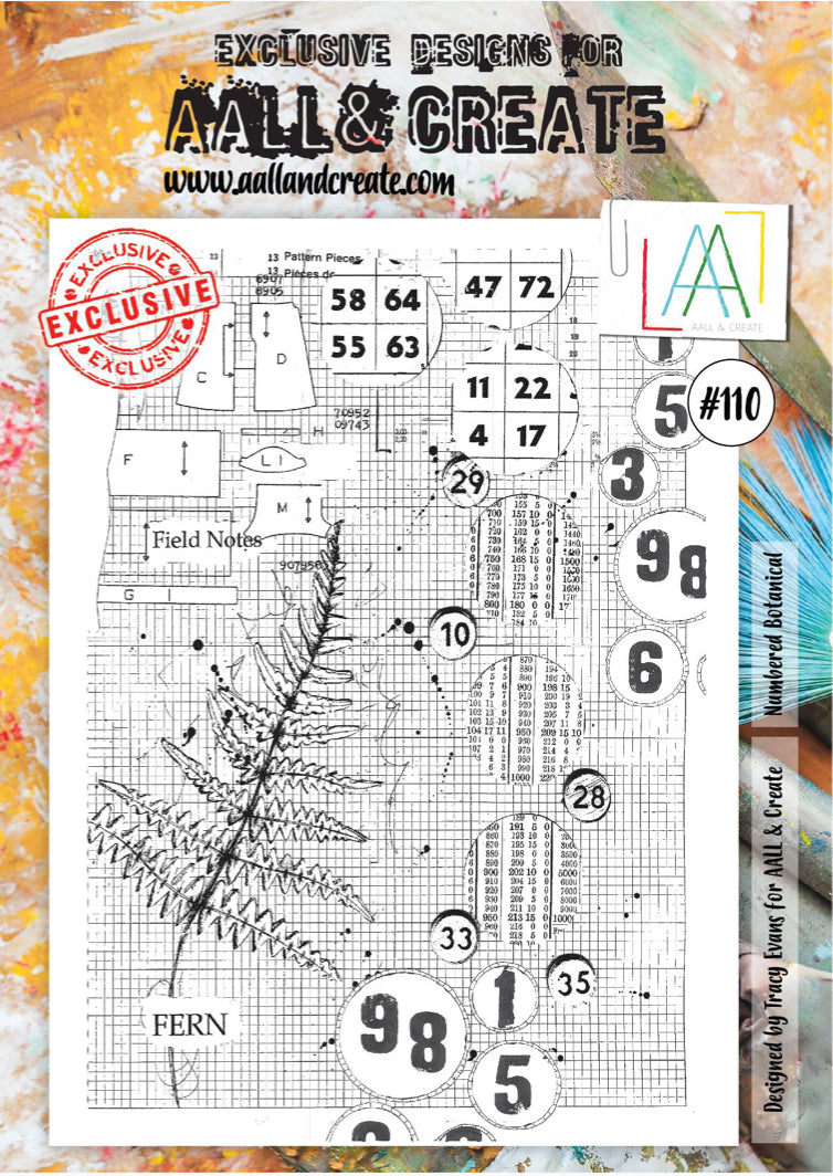 AALL & Create - A4 Clear Stamp Set Designed by Tracy Evans - Numbered Botanical #110