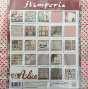 "Stamperia Scrapbooking 12"" x 12"" Alice Maxi Pad - 22 Double Faced Sheets - SBBXLB08G"
