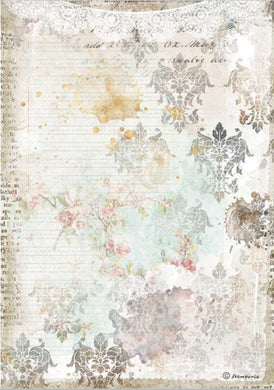 Stamperia A4 Rice Paper Packed Romantic Journal Texture with Lace DFSA4556