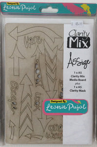 Clarity Mix A5 Mixed Media Board & A5 Mask Set - Arrow Shapes