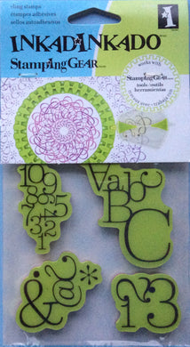 Cling Stamps - Inkadinkado Stamping Gear 4 Piece Rubber Stamp Set - Typographic