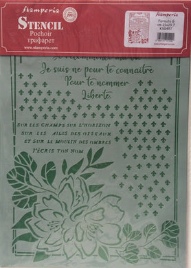 Stamperia Flexible Stencil Romantic Journal Flower with Frame 21cm x 29.7cm KSG457