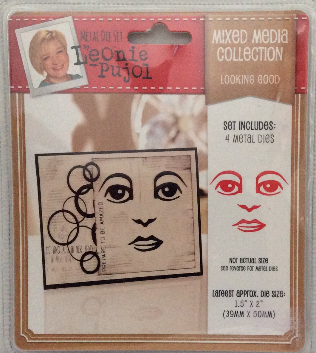 "Leonie Pujol Mixed Media Collection - Looking Good - 4 Metal Die Set 1.5""x 2"""