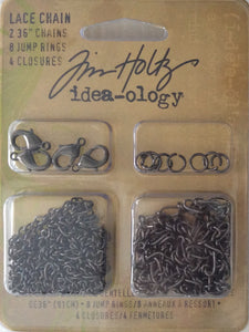 "Idea-ology by Tim Holtz - Lace Chain (2x 36"" Chain, 8 Jump Rings & 4 Closures)"