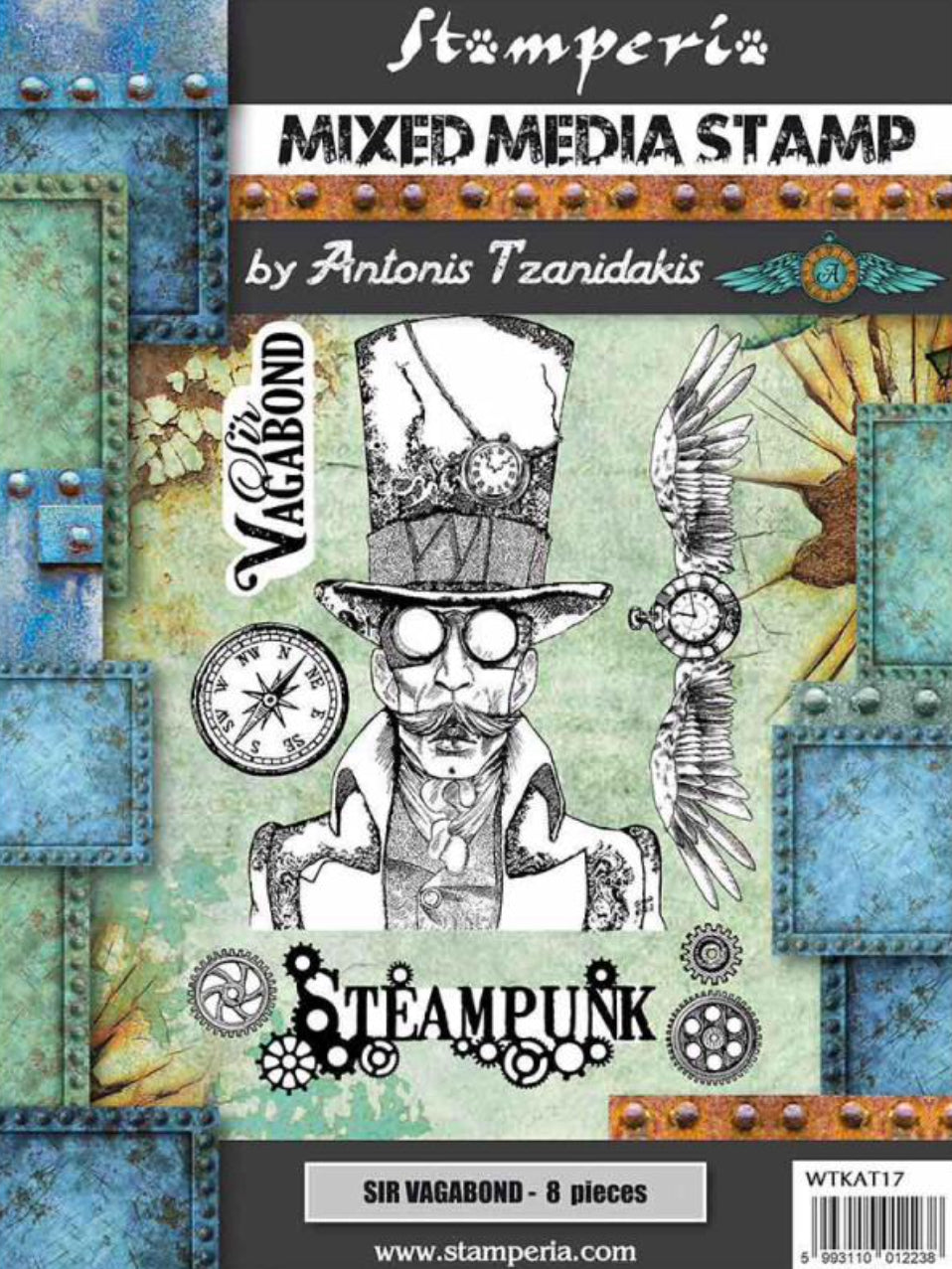 Stamperia Mixed Media Stamp Set by Antonis Tzanidakis - Steampunk WTKAT17 - 15cm x 20cm