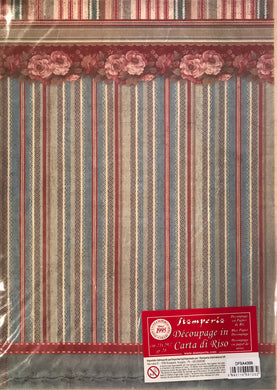 Stamperia Rice Paper decoupage A4 Striped wallpaper DFSA4399