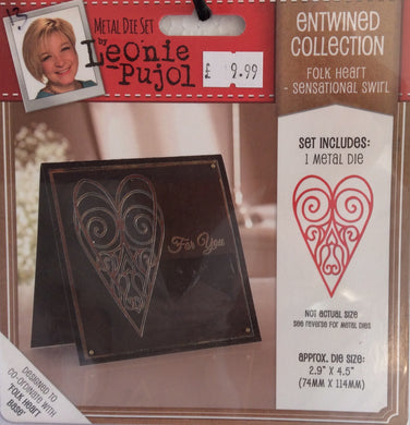 "Leonie Pujol Entwined Collection Folk Heart - Sensational Swirl 2.9"" x 4.5"""