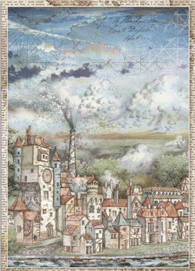Stamperia - Packed Sir Vagabond Cityscape Decoupage Rice Paper A4 DFSA4514