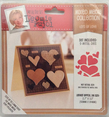 "Leonie Pujol Mixed Media Collection - Lots of Love - 9 Metal Die Set 2.7""x 3.3"""