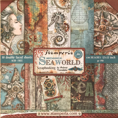 "Stamperia Mechanical Seaworld by Antonis Tzanidakis Scrapbooking 12"" x 12"" Paper Pad SBBL64"