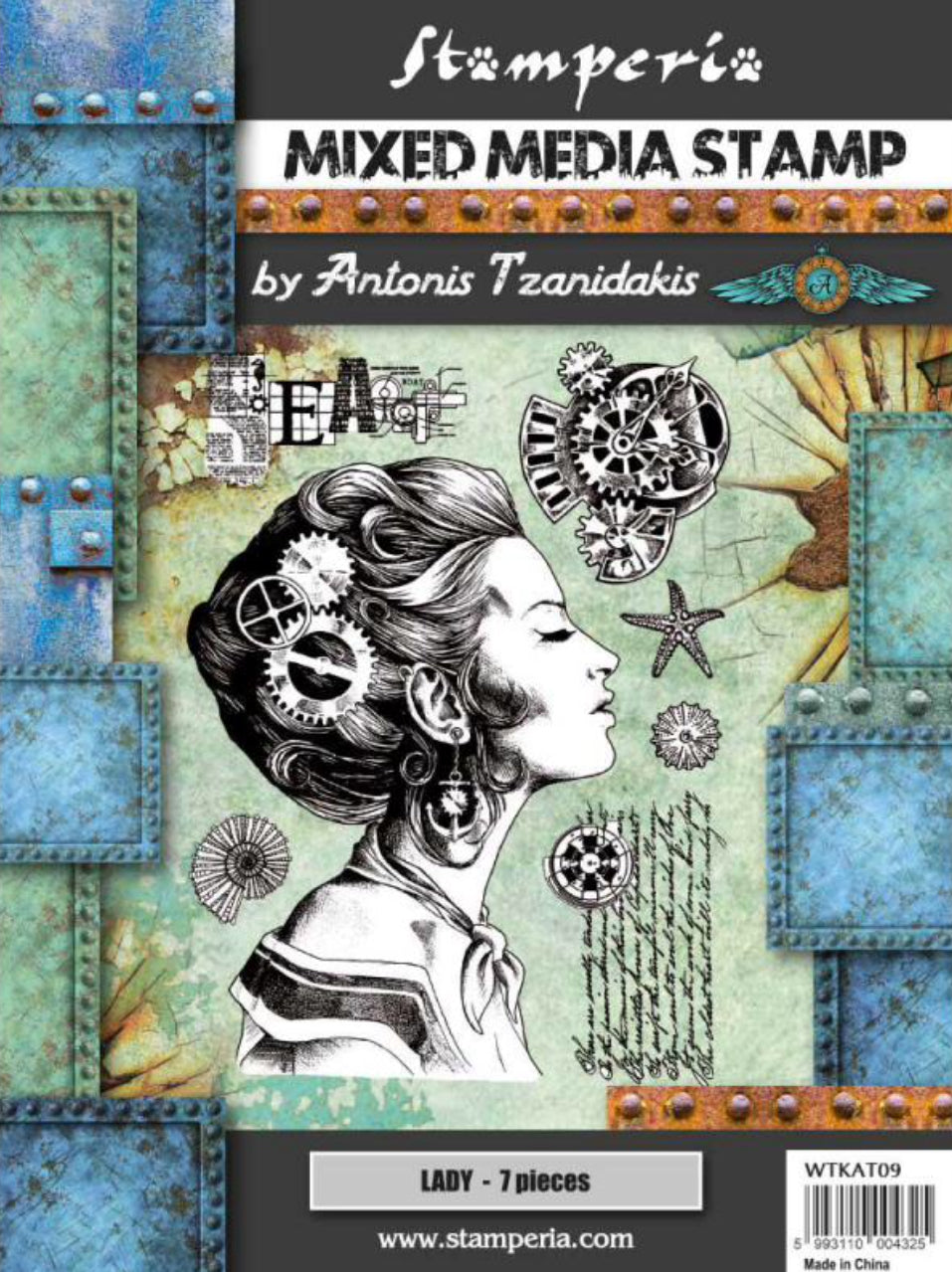 Stamperia Mixed Media Stamp Set by Antonis Tzanidakis - Lady WTKAT09 - 15cm x 20cm