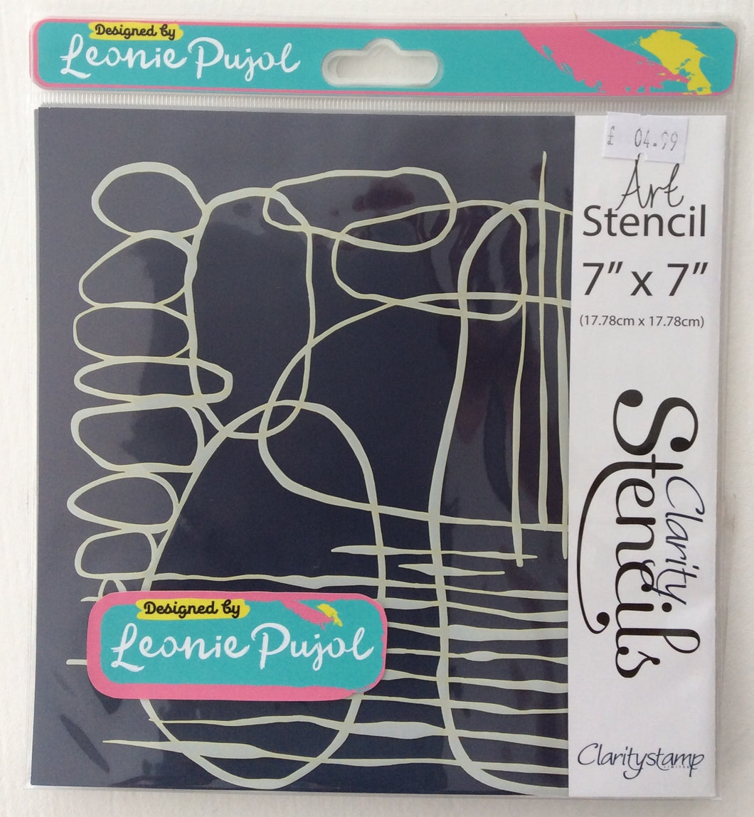 "Clarity Art Stencils by Leonie Pujol - Circles Stripes Abstract Art 7""x 7"""