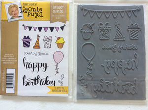 SALE Crafters Companion Rubber Stamp Set Designed by Leonie Pujol A6 - Birthday Surprise