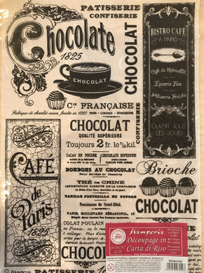 Stamperia Rice Paper decoupage A4 Chocolate adverts vintage DFSA4193