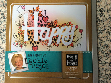 Crafters Companion Mask & Stencil Set by Leonie Pujol - Happy