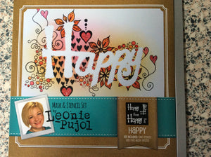 SALE Crafters Companion Mask & Stencil Set by Leonie Pujol - Happy