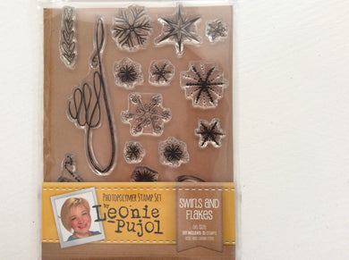 SALE Crafters Companion Photopolymer Stamp Set Designed by Leonie Pujol A6 - Swirls & Flakes