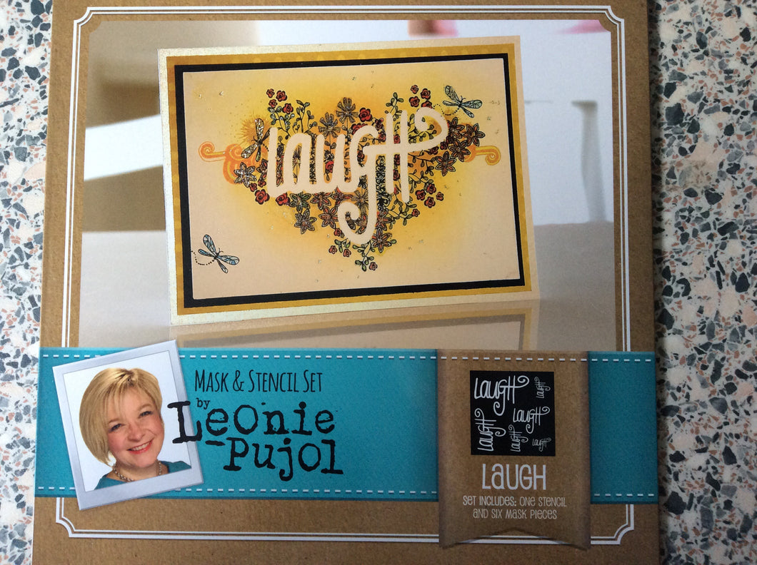 Crafters Companion Mask & Stencil Set by Leonie Pujol - Laugh