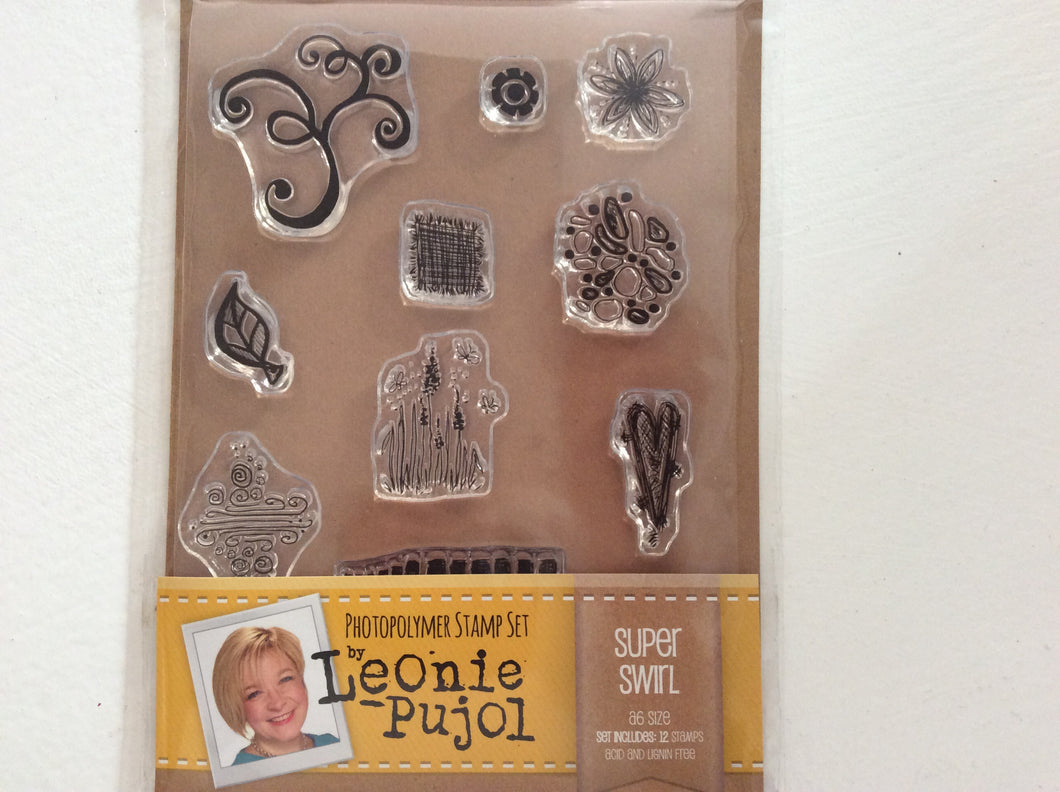 SALE Crafters Companion Photopolymer Stamp Set Designed by Leonie Pujol A6 - Super Swirl