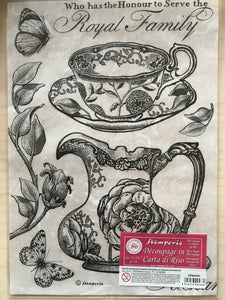Stamperia Rice Paper decoupage A4 tea, tea-cup and saucer, tea pot DFSA4301