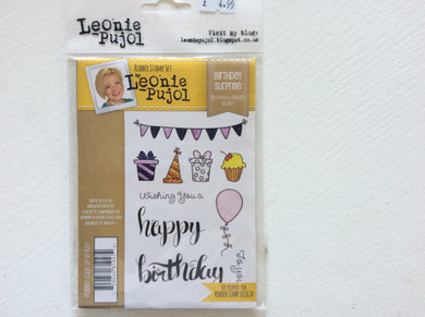 Crafters Companion Rubber Stamp Set Designed by Leonie Pujol A6 - Birthday Surprise