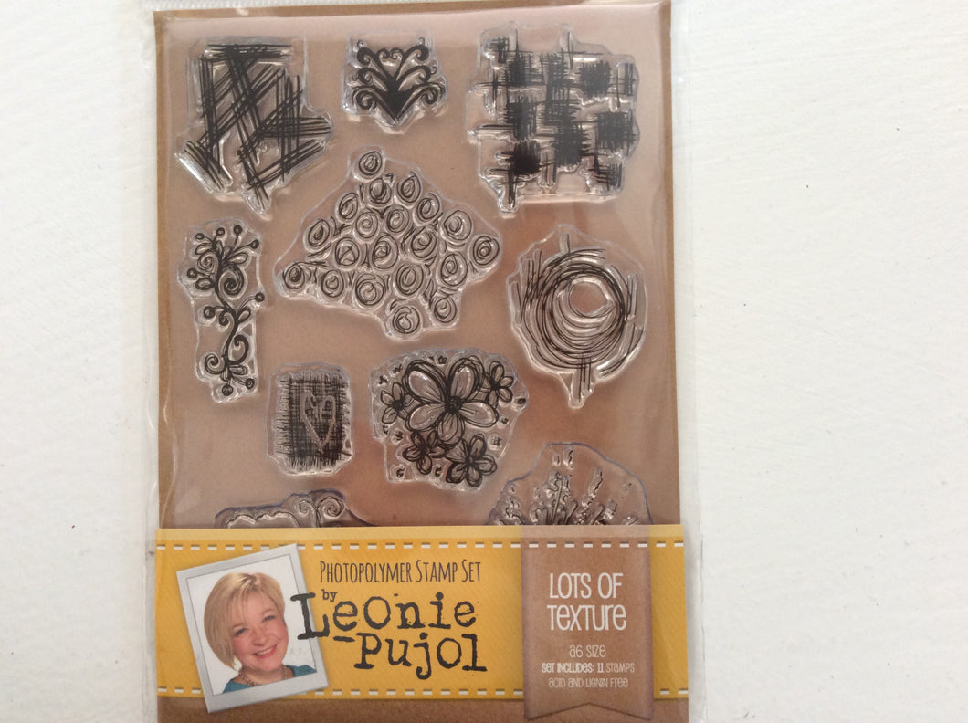 SALE Crafters Companion Photopolymer Stamp Set Designed by Leonie Pujol A6 - Lots of Texture