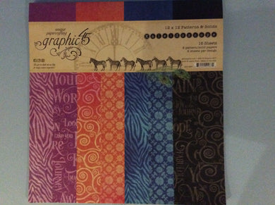 "Graphic 45 Kaleidoscope 12"" x 12"" Patterns & Solids 16 Sheets"