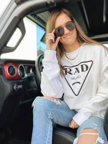 Rad Crewneck Sweatshirt in White M/L