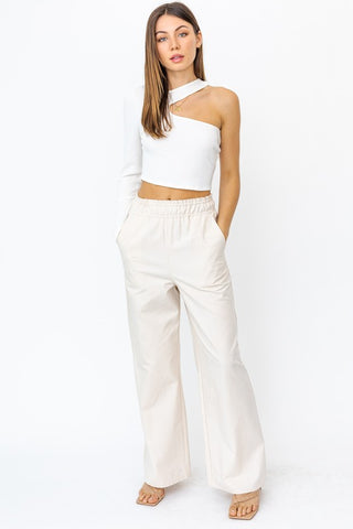 Nickie One Shoulder Top in White