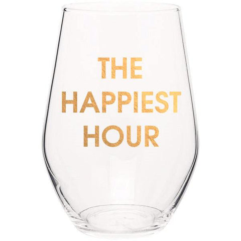 THE HAPPIEST HOUR - GOLD FOIL STEMLESS WINE GLASS - sanitystyle